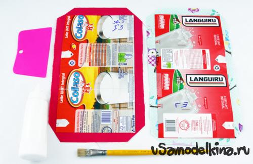 Клатч из коробки от сока или молока и обычного ситца