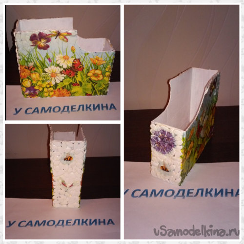 Подставка для тетрадей из картонной коробки