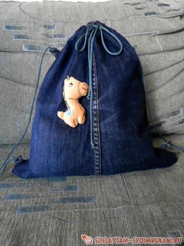Джинсовый рюкзак для детишек