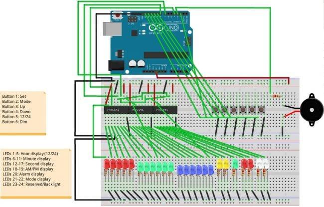 Бинарные часы с будильником и таймером на Arduino Uno
