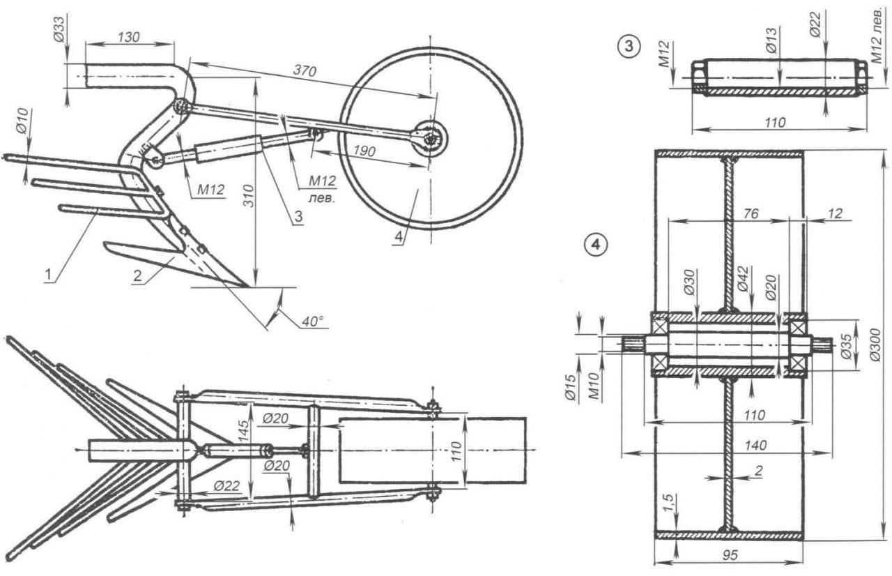 Чертеж колес для мотоблока