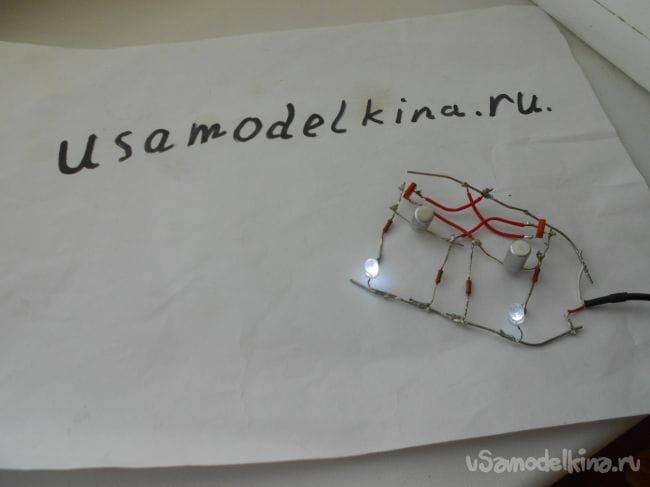 Светодиодная мигалка на двух транзисторах