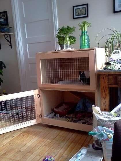 Двухъярусный домик для декоративного кролика