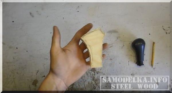 Ручка рычага КПП из алюминия и дерева