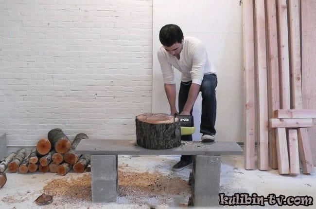 Как сделать стул из пня