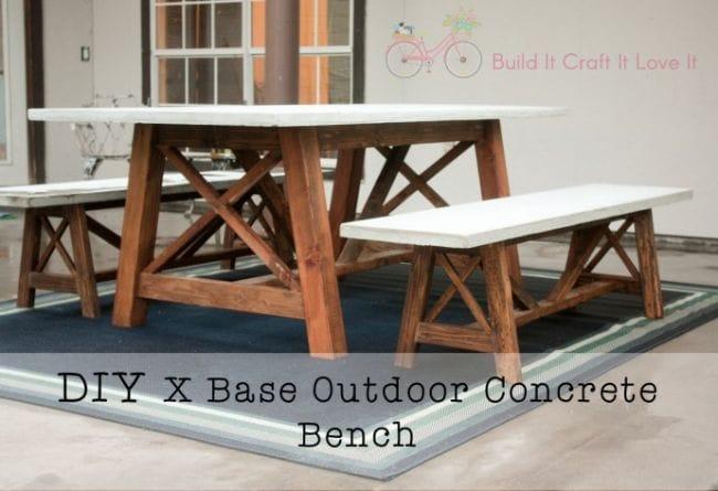 Как сделать стол и лавки с бетонным основанием