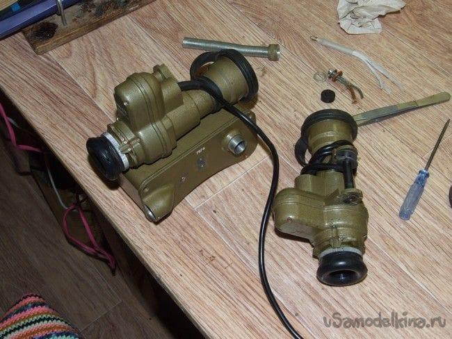 Переделка в зрительную трубу и батарейное питание, прибора ночного видения ПНВ-57Е