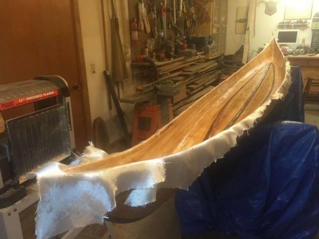 Каяк из кедровой и ореховой рейки