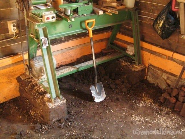 Пол – бетонная стяжка в мастерской