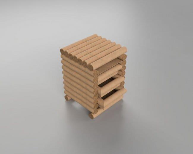 Комод-кассетница из картонных трубок
