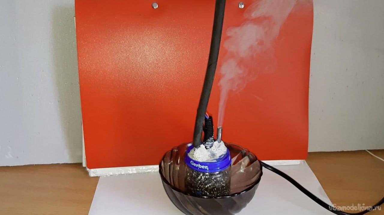 Дымогенератор для проверки впускного тракта автомобиля из паяльника