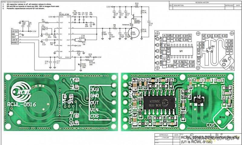 Микроволновый датчик RCWL-0516 в автомате освещения и сигнализации