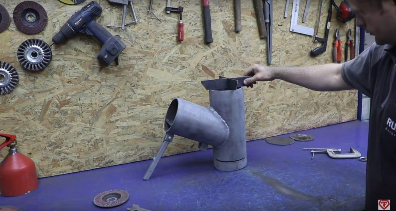 Печь щепочница из старых огнетушителей