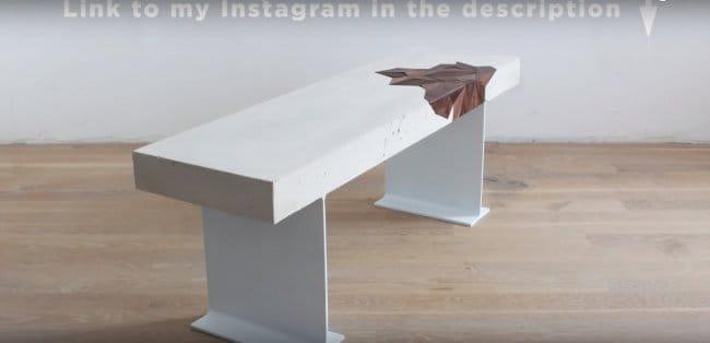 Стол из бетона с инкрустацией деревом