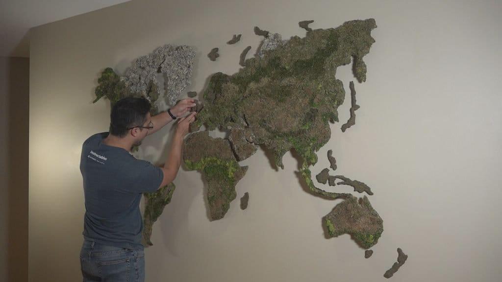 Карта мира из мха, с подсветкой городов