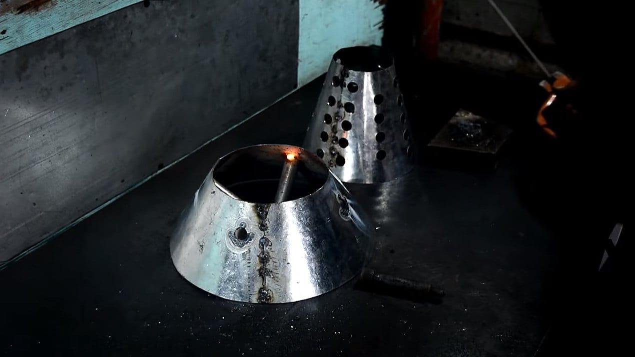 Ракетная печь с конфоркой на полове или опилках