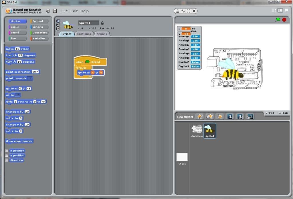 Передача в среду Scratch данных от акселерометра через Arduino